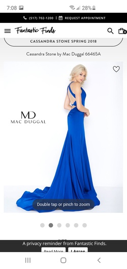 Mac Duggal Blue Size 2 Tall Height Plunge Halter Ball gown on Queenly