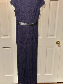 Adriana Propel blue lace with small train Blue Size 14 Plus Size Train Lace Straight Dress on Queenly