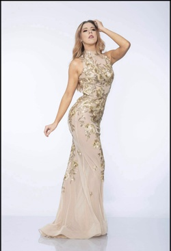 Juan Carlos Gold Size 4 Straight Dress on Queenly