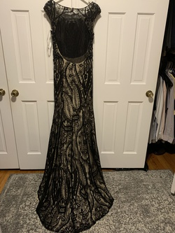 Eleni  Elias Black Size 10 Lace Backless Gold Train Dress on Queenly