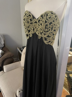 Style 13130 La Femme Black Size 6 Embroidery Tulle Sweetheart A-line Dress on Queenly