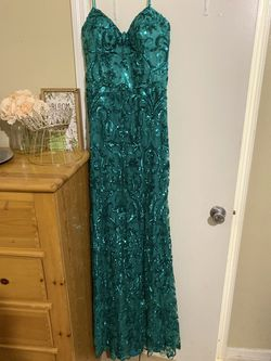 Vienna Green Size 14 Party Corset Train Straight Dress on Queenly