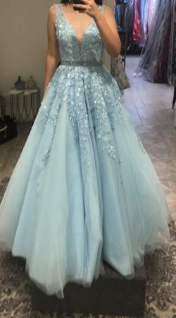 Sherri Hill Blue Size 2 Tall Height Ball gown on Queenly