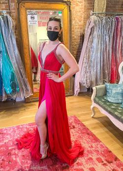 Jovani Pink Size 2 Plunge Showstopper Side slit Dress on Queenly