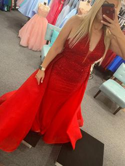 Red Size 12 Train Dress on Queenly