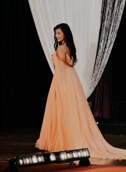Sherri Hill Orange Size 6 Cape Straight Dress on Queenly