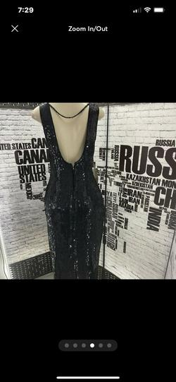 Laurence Kazar Black Size 12 Jewelled Sequin Silk Straight Dress on Queenly