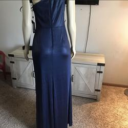 Adrianna Papell Blue Size 8 Short Height Shiny One Shoulder Straight Dress on Queenly