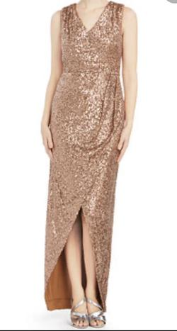 Calvin Klein Draped Sequined Gown size2 Gold Size 2 Jewelled V Neck Sequin Straight Dress on Queenly