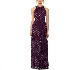 Betsy & Adam Chiffon Foil-Dot Gown 6 Purple Size 6 Short Height Tulle Straight Dress on Queenly
