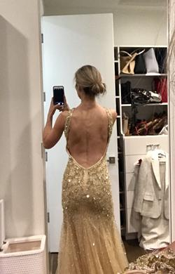 Mac Duggal Gold Size 4 Tall Height Mermaid Dress on Queenly