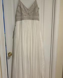 Adrianna Papell White Size 12 Jewelled Tulle Nude A-line Dress on Queenly