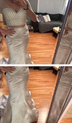 Sherri Hill White Size 10 Two Piece Pageant Mermaid Dress on Queenly