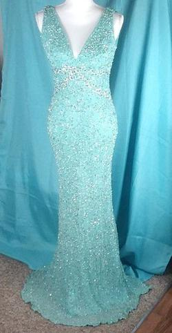 Scala Blue Size 8 Sequin Silk Silver Mermaid Dress on Queenly
