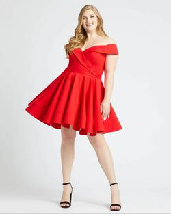 Style 48887 Mac Duggal Red Size 16 Sorority Formal Tall Height Cocktail Dress on Queenly