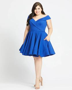 Style 48887 Mac Duggal Blue Size 16 Sorority Formal Tall Height Cocktail Dress on Queenly