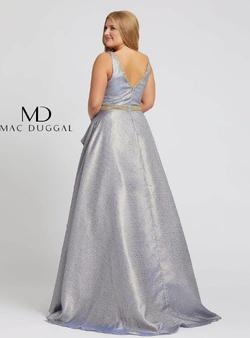 Style 48978 Mac Duggal Silver Size 14 Ruffles Pageant Ball gown on Queenly