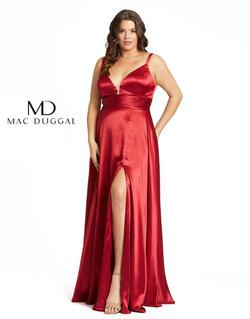 Style 49044 Mac Duggal Red Size 14 Tall Height Wedding Guest Side slit Dress on Queenly