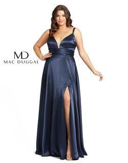 Style 49044 Mac Duggal Blue Size 14 Sorority Formal Silk Side slit Dress on Queenly
