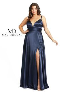 Style 49044 Mac Duggal Blue Size 16 Silk Side slit Dress on Queenly