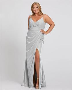 Style 49049 Mac Duggal SIlver Size 18 Sorority Formal Tall Height Wedding Guest Side slit Dress on Queenly