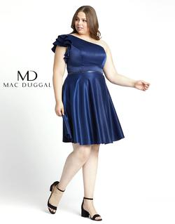 Style 49229 Mac Duggal Blue Size 18 Sorority Formal Tall Height Wedding Guest Cocktail Dress on Queenly
