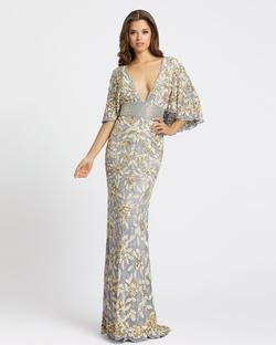 Style 4574 Mac Duggal Gold Size 4 Tall Height V Neck Wedding Guest Mermaid Dress on Queenly