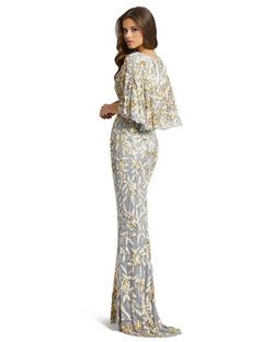 Style 4574 Mac Duggal Gold Size 6 Tall Height V Neck Wedding Guest Mermaid Dress on Queenly