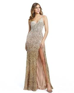 Style 5064 Mac Duggal Gold Size 12 Pageant Tall Height Side slit Dress on Queenly