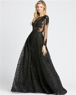 Style 20100 Mac Duggal Black Size 4 Tall Height Sheer Lace Ball gown on Queenly