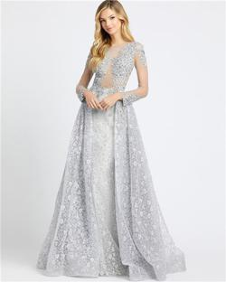 Style 20100 Mac Duggal Silver Size 8 Sheer Lace Ball gown on Queenly