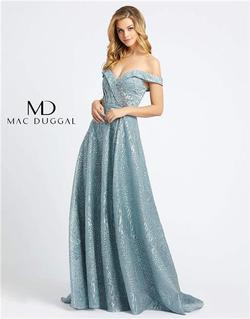 Style 20121 Mac Duggal Blue Size 6 Tall Height A-line Dress on Queenly