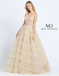 Style 20136 Mac Duggal Gold Size 4 Backless Tall Height Ball gown on Queenly