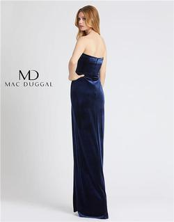 Style 25635 Mac Duggal Blue Size 2 Tall Height Wedding Guest Side slit Dress on Queenly