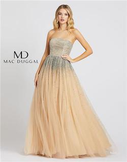 Style 26015 Mac Duggal Nude Size 8 Tall Height A-line Dress on Queenly