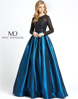 Style 62883 Mac Duggal Blue Size 10 Tall Height Ball gown on Queenly