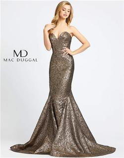Style 66025 Mac Duggal Gold Size 12 Plus Size Tall Height Mermaid Dress on Queenly