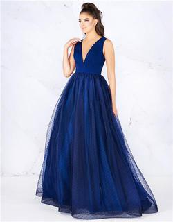 Style 66738 Mac Duggal Blue Size 4 Tall Height Ball gown on Queenly