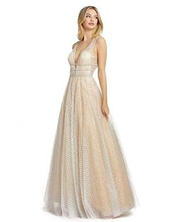 Style 77402 Mac Duggal Nude Size 16 Backless Tall Height Ball gown on Queenly