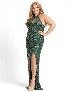 Style 4835 Mac Duggal Green Size 22 Pageant Sequin Side slit Dress on Queenly