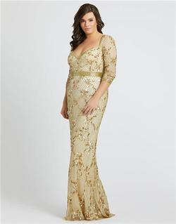 Style 4851 Mac Duggal Gold Size 16 Tall Height Straight Dress on Queenly