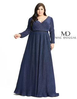 Style 48892 Mac Duggal Blue Size 22 Long Sleeve Prom Straight Dress on Queenly