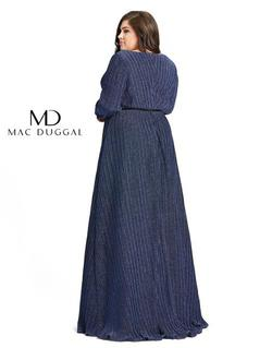Style 48892 Mac Duggal Blue Size 24 Long Sleeve Prom Straight Dress on Queenly