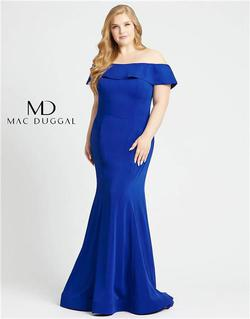 Style 66812 Mac Duggal Blue Size 14 Tall Height Wedding Guest Mermaid Dress on Queenly