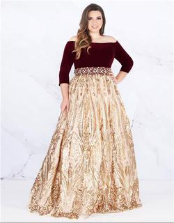 Style 66831 Mac Duggal Gold Size 16 Burgundy Ball gown on Queenly