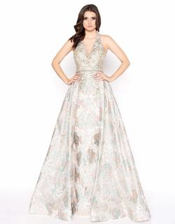 Style 79204 Mac Duggal Gold Size 4 Halter Tall Height A-line Dress on Queenly