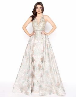 Style 79204 Mac Duggal Gold Size 12 Halter Tall Height A-line Dress on Queenly