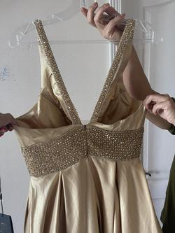 Gold Size 10 Train Dress on Queenly