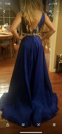 Jovani Royal Blue Size 4 Jersey A-line Dress on Queenly