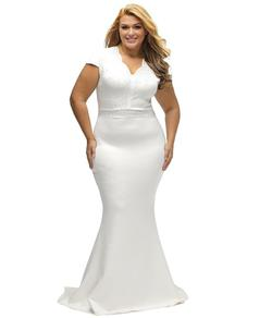 Style B076P5JVXR Lalagen White Size 24 Plus Size Jersey Mermaid Dress on Queenly